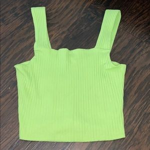 Green ribbed tank top cropped american eagle